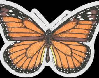 Clear vinyl Monarch Butterfly sticker