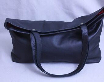 Black Leather Tote Bag, Large bag