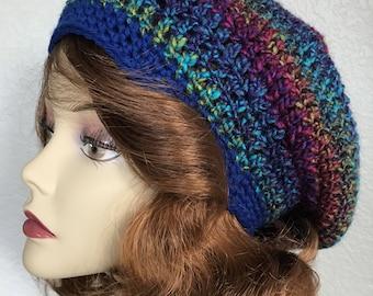 Rainbow slouchy hat, Beret hat, Crochet slouchy beanie, Spring beanie hat, Beret hat, Gift hat, Womens hat, Purple hat, Boho slouchy hat