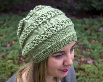 Leaf Green Slouchy Knit Hat - Vegan Hat - Boho Hat - Hipster Hat - Hippie Hat Womens Tam - Mens Beanie - Unisex Hat - Acrylic Hand Knit
