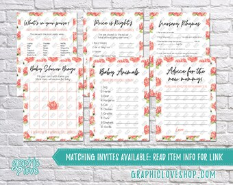 Digital Set of 6, 5x7 Floral Rose Girl Baby Shower Games & Advice for Mom Card | PDF File, Instant Download, Ready to Print