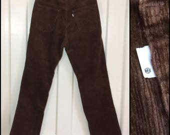 1970s Levi's 519 corduroys 34X30, measures 33x29 brown straight leg corduroy jeans Talon zipper made in USA barely used condition #1596