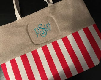 Monogrammed Nautical Stripe Tote Bag/ Stripe Tote Bag/ Nautical Bag
