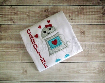 Valentine's Robot with Hearts Personalized with Name Appliqued T-shirt or Bodysuit for Girls or Boys