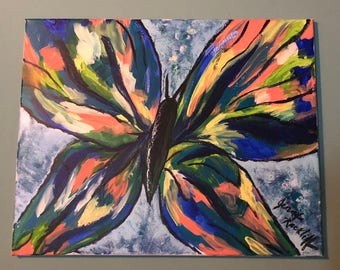Abstract Butterfly Acrylic Painting 20x16