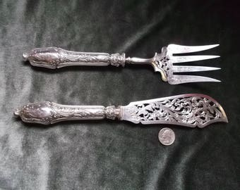 Antique Gorgeous French Emile Puiforcat Sterling Silver Fish Servers With Monograms