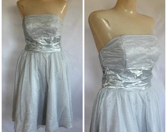1980s Prom Dress / Silver Strapless Dress / Vintage 80s Prom Dress / Metallic Sparkle Prom Dress / Vintage 80s Silver Strapless Prom Dress S
