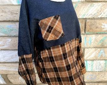 Sweatshirt x flannel plaid cozy cotton shirt top tunic fall chunky warm soft boho gypsy upcycled ecofriendly long sleeve charcoal brown