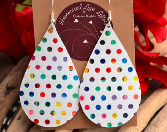 Leather Earrings white with rainbow polka dots handmade by Hammered Love Letters