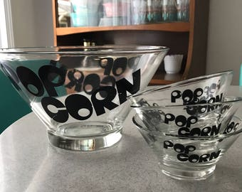 Vintage Retro Mod Popcorn Bowl Set