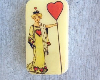 Queen of Hearts pill box, slider tin, mint tin, vintage style favor tin