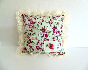 Girls Lace Trimmed Tooth Fairy Pillow , Vintage Look Mini Pillow , Ring Bearer Pillow ,  Small Floral Pillow