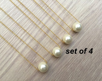 FAST SHIPPING GIFT! Set of 4! Single Pearl Necklace, Simple Pearl Bridesmaid Jewelry Gifts - Bridesmaid Jewelry Necklace wedding party