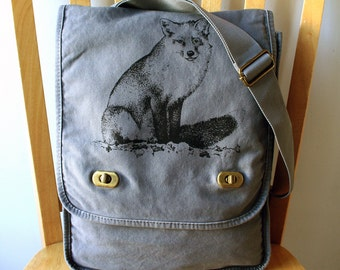 Fox Canvas Messenger Bag Laptop Bag