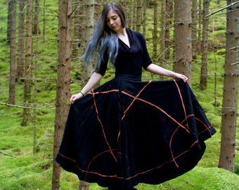 Gothic Skirt - Medieval Skirt - Goth - Witch Skirt - Pentagram Skirt - Pentagram Dress - Sigil Skirt - Witch Clothes - Black Maxi Skirt