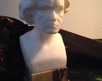 19th century Beethoven Bust alabaster and marble