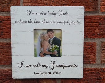 I'm such a lucky bride to have the love of two wonderful people grandparents wedding gift personalized 8x8 inch