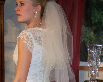 Shimmer  Bridal Veil with Silver/gold Threading Swarovski Crystal Adornment