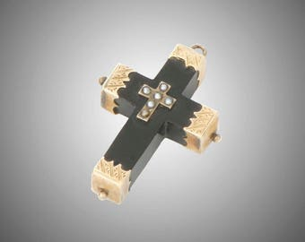 petite 14k hand engraved mounts & pearls on Whitby jet cross