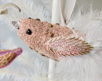 Holiday ornament  Pink bird feathers Christmas Ornament with German glass glitter. shabby chic glitter lace pink with glitter vintage.