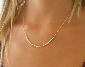 Simple Gold Necklace, Delicate 14K Gold Filled Necklace, Gold Tube Beads Necklace, Layering Gold necklace, Minimal Gold Necklace,