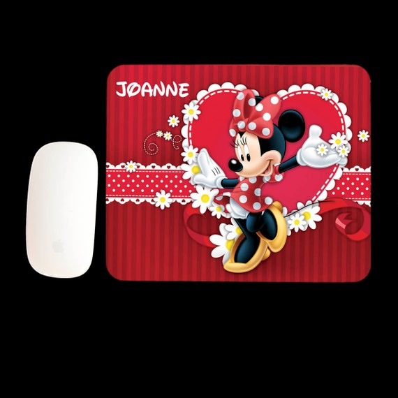 Personalised Minnie Mouse Mousepad, Minni Mouse mouse mat, personalised Minnie Mouse gift, Office gift