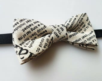 Newspaper bow tie- newspaper bowtie- bow tie for writer- linen bow tie- handmade bow tie- newspaper tie- newspaper accessories