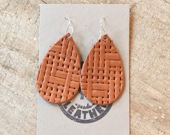 Leather Tear Drop Earrings~Saddle Basket Weave Print~handmade