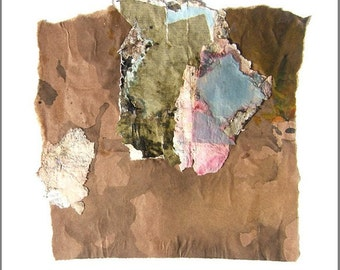 Practical Magic, Original Collage with Weathered and Hand Painted Papers 8 x 8 on 11 x 14 Backing