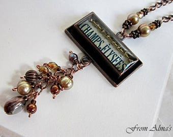 French Image Jewelry, French Theme Pendant, Champs Elysees Necklace, Paris Necklace, French Necklace, Image Pendant, French Text Necklace