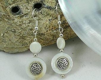 Mother of Pearl Celtic Knotwork Earrings