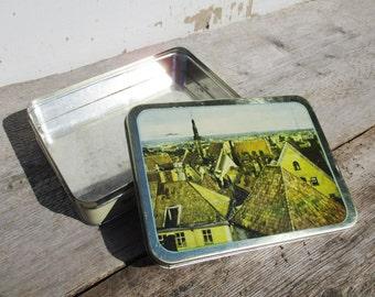 Tin Box, Estonia Tallinn, Baltic States, Lidded Candy Box, Medieval Old Town, Sewing Accessories Box, Kitchen Storage