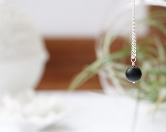 Matte Black Obsidian Mini Drop Necklace