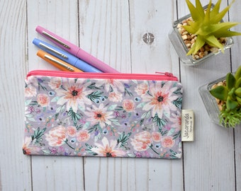 Small zipper pouch, planner pouch, pencil case, planner accessories, floral pouch, small make up bag, floral zipper bag, back to school