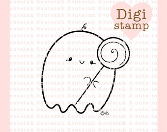 Ghostie Sucker Digital Stamp for Card Making, Paper Crafts, Scrapbooking, Hand Embroidery, Invitations, Stickers, Coloring Pages