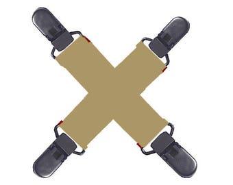 MITTEN CLIPS - TAN / Khaki Elastic - Black Plastic...Strong Grip...Non-Metal Clips