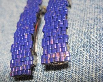 Midnight Purple Metallic Luster Toho 1.5 mm CUBE Beaded Solid Barrettes....set of 2 Small Size....hand made OOAK Original Design #930h