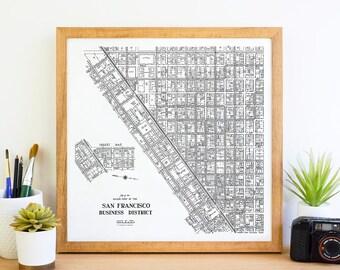 Downtown San Francisco California Map, San Francisco Map, San Francisco Art, San Francisco Print, San Francisco Gift, Vintage Map and Canvas