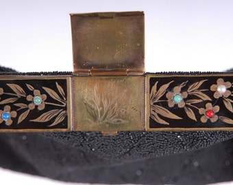 Vintage Hand-Beaded Black French Purse with Jeweled Frame