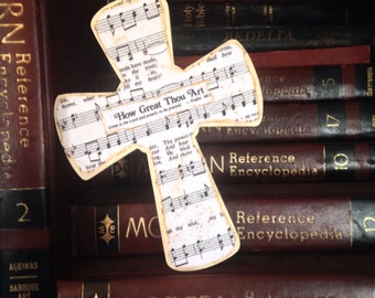 How Great Thou Art Ivory Wood Wall Hymnal Cross MADE TO ORDER