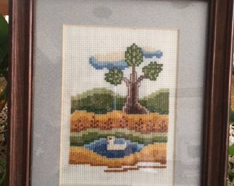 Finished Cross Stitch Duck on Pond Picture.  Wooden Frame, Finished Cross Stitch