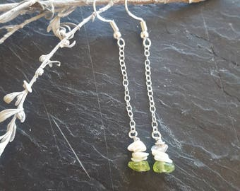 Peridot & Opal Dangly Chain Earrings - Dangle Earrings, Gift For Her, August Birthstone, Boho Earrings, Chain Earrings, Sterling Silver