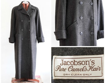 Women's gray camel hair double breasted overcoat from Jacobson's