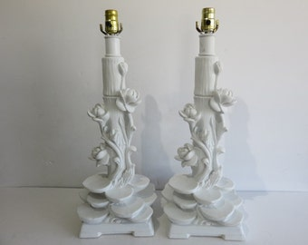 Pair Of Mid-Century Modern Lotus Leaf  And Flower Plaster Lamps. In The Manner Of Dorothy Draper.