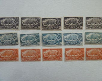 Rhinoceros - Lot of Postage Stamps with Rhinos From French Equatorial Africa