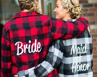 Bridal Flannels Bridesmaid Flannels Wedding Flannels Wedding Prep Wedding Getting Ready Bachelorette Party Shirts 5WDFm