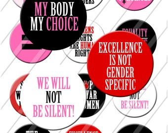 Womens Rights are Human Rights Protest Pins, Buttons, Badges 2.25 inch pinback Button Set