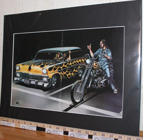 """David Mann """"1956 Chevy / Chopper Flames'' 16'' x 20'' Matted Motorcycle Biker Art #7911ezrxmb"""