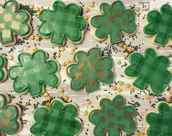 1 dozen St. Patricks day 4 leaf clover cookies!