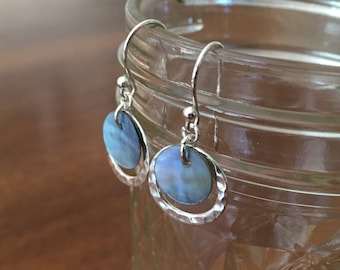 Sterling Silver Blue Capiz Shell Earrings with Hammered Silver Ring Accent